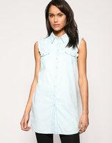 Frayed Sleeveless Denim Shirt