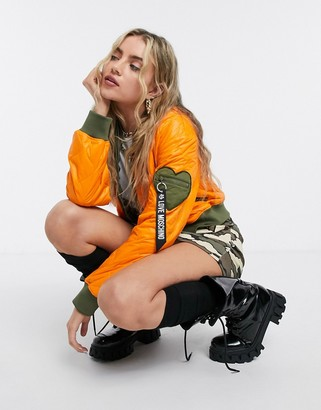 Love Moschino quilted padded bomber jacket in orange