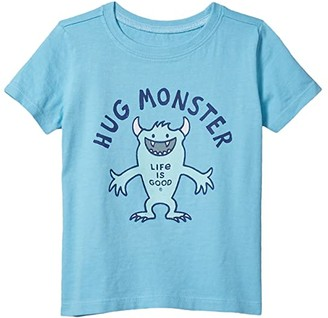 Life is Good Hug Monster Crusher Tee (Toddler) (Coastal Blue) Kid's Clothing