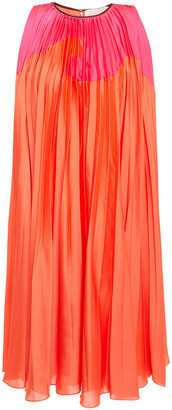 Roksanda Pleated Two-tone Satin Dress