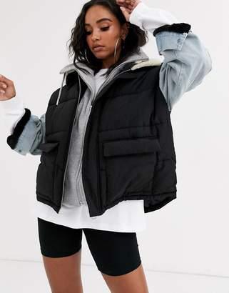 Sixth June oversized padded jacket with denim sleeves-Blue
