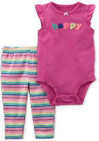 Carter's 2-Pc. Happy Bodysuit & Striped Pants Set, Baby Girls