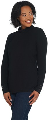Denim & Co. Essentials Perfect Jersey Mock-Neck Top w/ Button Cuff