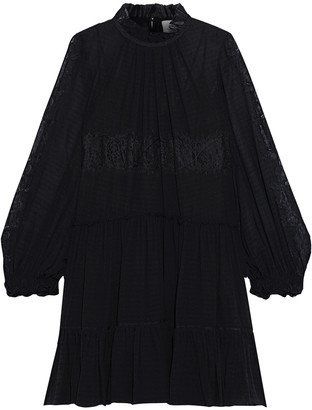 3.1 Phillip Lim Lace-paneled Silk-blend Georgette Mini Dress