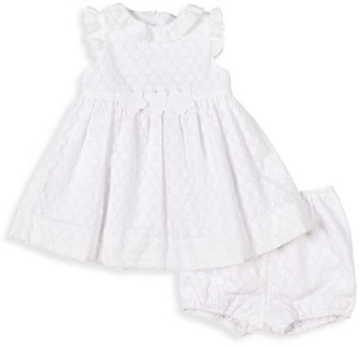 Florence Eiseman Baby Girl's 2-Piece White Out Flower-Embroidered Dress & Bloomer Set