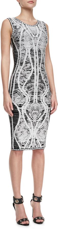 Herve Leger Mix-Pattern Bandage Dress