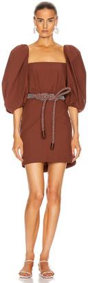Johanna Ortiz Linear Rhythm Mini Belted Dress in Deep Terracotta   FWRD