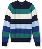 Lands' End Men's Tall Classic Fit Cotton Bold Stripe Drifter Crewneck Sweater-Chestrfield Multi Gingham