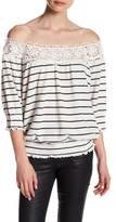 Romeo & Juliet Couture Off-the-Shoulder 3/4 Length Sleeve Striped Shirt