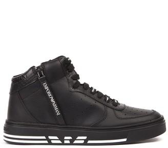 Emporio Armani Sneakers High-top In Pelle Nera