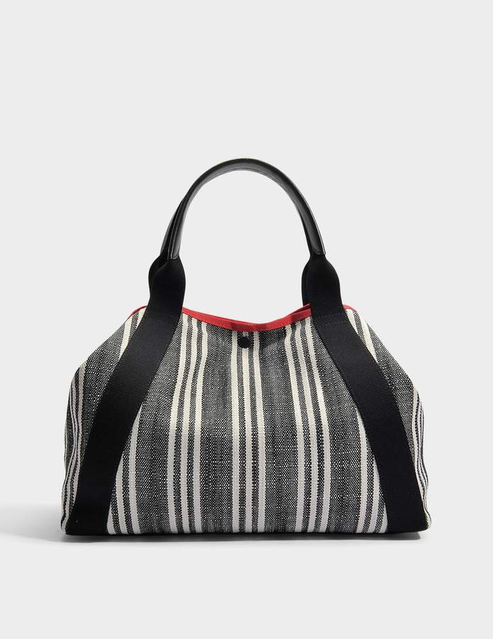 Gerard Darel Simple Red Transat Rayé Bag in Black Canvas