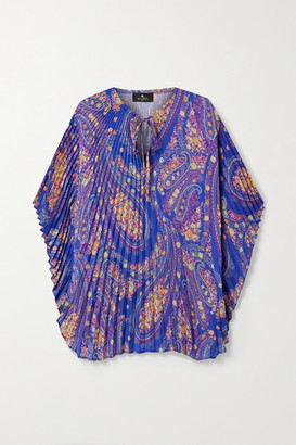 Etro Rodin Pleated Printed Georgette Blouse - Blue