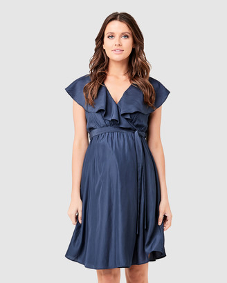 Ripe Maternity Women's Navy Work Dresses - Frill Wrap Nursing Dress - Size One Size, XS at The Iconic