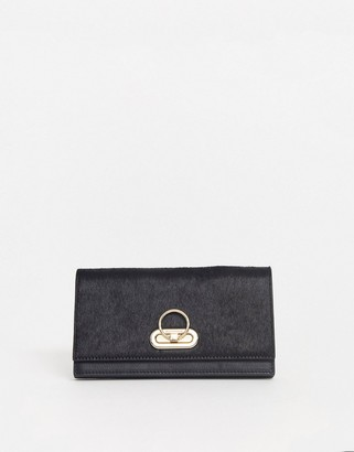 Paul Costelloe real leather black foldover purse with gold hardware