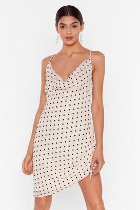 Nasty Gal Womens Dot a Hold On You Cowl Mini Dress - Beige - 4, Beige