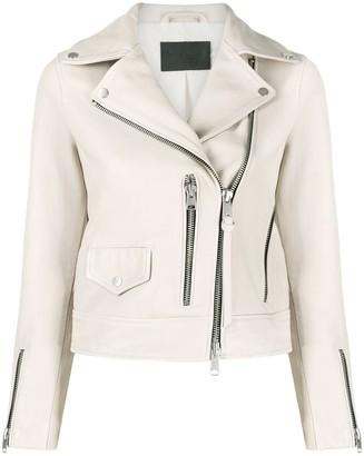 AllSaints Zip-Up Biker Jacket