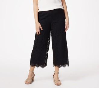 Isaac Mizrahi Live! Petite Floral Lace Knit Culotte Pants