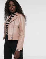 Asos Design DESIGN ultimate faux leather biker jacket in pink