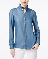 Tommy Hilfiger Ruffle-Collar Denim Shirt, Only at Macy's