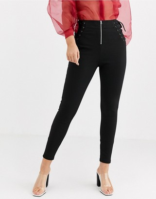 ASOS DESIGN corset lace up skinny pant with contrast stitch detail