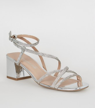 New Look Diamante Flared Heel Strappy Sandals