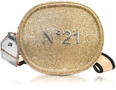 N°21 Silver and Gold Glitter Oval Crossbody Bag w/Metallic Embossed Logo