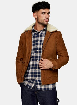 Topman SELECTED HOMME Stone Shearling Suede Zip Through Jacket