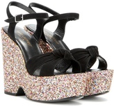Saint Laurent Candy 85 embellished suede wedge sandals