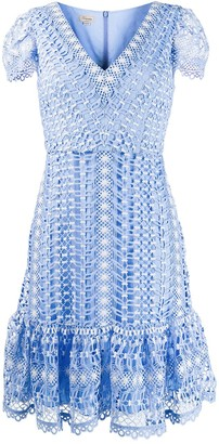 Temperley London Short-Sleeved Crochet Dress