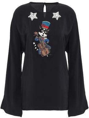 Dolce & Gabbana Embellished Silk Crepe De Chine Blouse