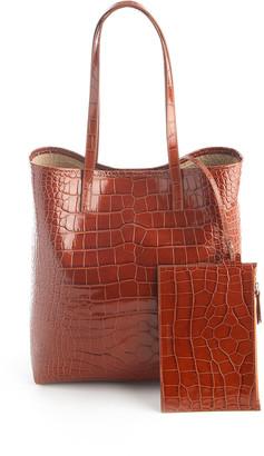 ROYCE New York Croc-Embossed Tote Bag with Wristlet