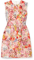 Valentino Floral-print Wool And Silk-blend Crepe Mini Dress - Pink