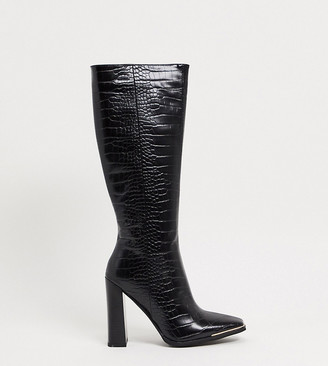 Simmi Wide Fit Simmi London Wide Fit Melisa knee boots in with metal plating in black croc