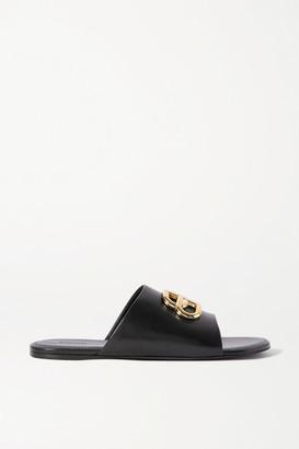 Balenciaga Oval Bb Logo-embellished Leather Slides - Black