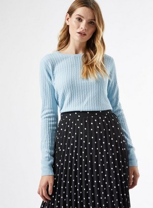 Dorothy Perkins Womens Pale Blue Cash Cable Crew Neck Jumper, Blue