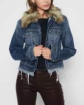 7 For All Mankind Cropped Boyfriend Jacket With (Optional) Faux Fur Collar In Montreal