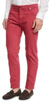 Kiton Twill Five-Pocket Pants, Watermelon Red