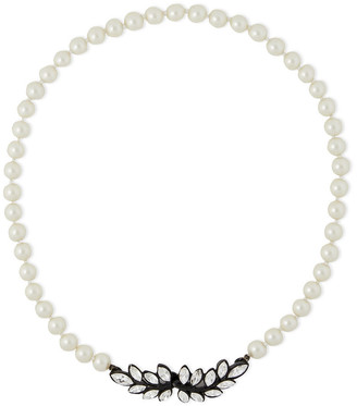 Kenneth Jay Lane Gunmetal-tone Faux Pearl And Crystal Necklace