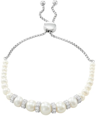 Sterling Silver Freshwater Cultured Pearl & Lab-Created White Sapphire Bolo Bracelet