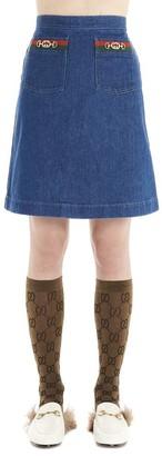 Gucci A-Line Web Detail Denim Skirt
