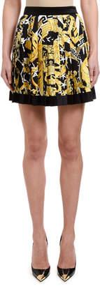 Versace Brocade-Print Box-Pleated Mini Skirt