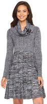 Dana Buchman Women's Cowlneck Fit & Flare Sweaterdress