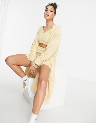 adidas 'Relaxed Risque' fluffy knit oversized cardigan in beige