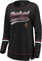 Women's Fanatics Branded Black/Wine Cleveland Cavaliers Dreams Sleeve Stripe Speckle Long Sleeve T-Shirt