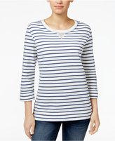 Karen Scott Striped 3/4-Sleeve Sweatshirt, Created for Macy's