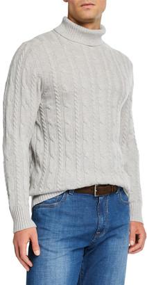 Neiman Marcus Men's Cable-Knit Turtleneck Sweater