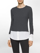Calvin Klein Thermal Crepe Long Sleeve Top