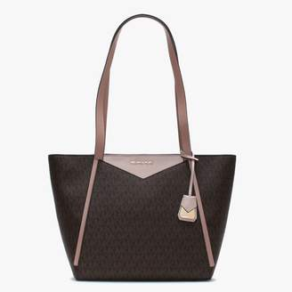 Michael Kors Whitney Brown Soft Pink & Fawn Logo Tote Bag
