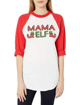Soffe Women's Funny Novelty Christmas Sloga Raglan-Mama Elf Small