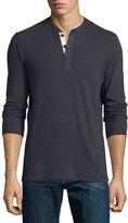 Rag & Bone Standard Issue Basic Long-Sleeve Henley Shirt, Navy